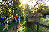 Backpackers start the hike at the trailhead for Sykes Hots Springs, Big Sur, California.