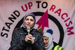 London, UK. 16th March, 2019. Salma Yaqoob, human rights activist and psychotherapist, addresses thousands of people on the March Against Racism demonstration on UN Anti-Racism Day against a background of increasing far-right activism around the world and a terror attack yesterday on two mosques in New Zealand by a far-right extremist which left 49 people dead and another 48 injured.