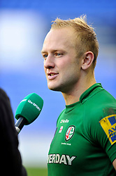Shane Geraghty of London Irish is interviewed after the match - Photo mandatory by-line: Patrick Khachfe/JMP - Mobile: 07966 386802 30/11/2014 - SPORT - RUGBY UNION - Reading - Madejski Stadium - London Irish v Gloucester Rugby - Aviva Premiership