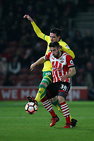 Football - 2016 / 2017 FA Cup - Third Round Replay: Southampton vs. Norwich City<br /> <br /> Southampton's Sam McQueen under pressure from Kyle Lafferty of Norwich City at St Mary's Stadium Southampton England<br /> <br /> COLORSPORTt/SHAUN BOGGUST