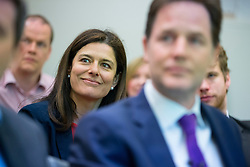 © licensed to London News Pictures. London, UK 23/04/2014. Miriam Clegg and Deputy Prime Minister Nick Clegg take part at the launch of 'Cityfathers' which aims to provide a forum for working fathers balancing office and family life. Photo credit: Tolga Akmen/LNP