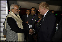 April 17, 2018 - London, London, United Kingdom - Boris Johnson greets PM of India. The Foreign Secretary Boris Johnson welcomes the Prime Minister of India, Narendra Modi, as he arrives at Heathrow airport,  for  the official start of Chogm2018. (Credit Image: © Andrew Parsons/i-Images via ZUMA Press)
