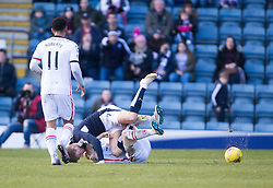 Inverness Caledonian Thistle's Carl Tremarco and Dundee's Greg Stewart have a tussle on the park and both get booked. <br /> Half time : Dundee 0 v 1 Inverness Caledonian Thistle, SPFL Ladbrokes Premiership game played at Dens Park, 27/2/2016.