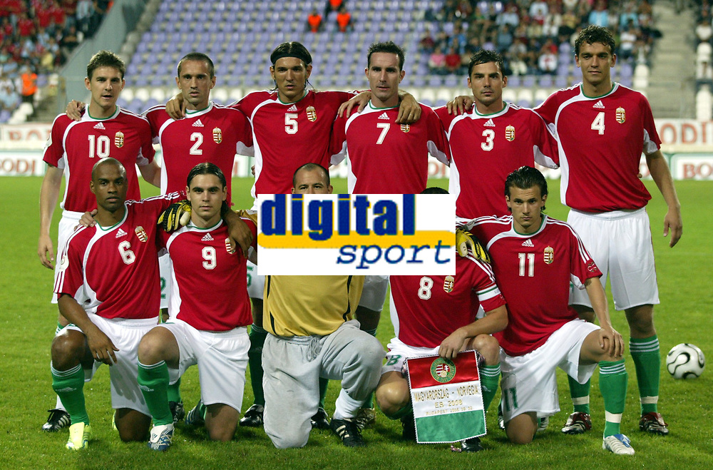 Fotball , 02. september 2006 , EM-kvalifisering , Ungarn-Norge 1-4 ,  <br /> Norway - Hungary<br /> lagbilde Ungarn , teampicture , team picture<br /> <br /> Gabor Kiraly 1, Csaba Feher 2 , Zsolt Low 3 , Laszlo Eger 5 , Roland Juhasz 4 , Thomas Sowunmi 6 , Balazs Molnar 7, Pal Dardai 8, Andras Horvath 9 , Zoltan Gera 10 , Szabolcs Huszti 11