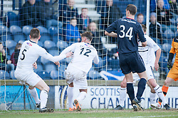 Raith Rovers Dougie Hill scores an own goal for Falkirk's first goal.<br /> Raith Rovers 2 v 4 Falkirk, Scottish Championship game today at Starks Park.<br /> © Michael Schofield.