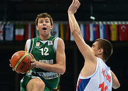 Nejc Zupan of Slovenia vs Nikola Pavlovic of Serbia during basketball match between National teams of Serbia and Slovenia in Division A of U16 Men European Championship Lithuania 2012, on July 21, 2012 in Panevezys, Lithuania. (Photo by Robertas Dackus / Sportida.com)