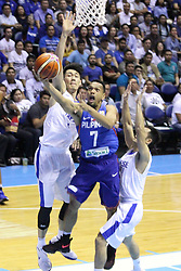 November 27, 2017 - Quezon City, NCR, Philippines - Jayson Castro William (7) of the Philippines drives past two players from Chinese Taipei to convert an uncontested lay-up during their FIBA World Cup Qualifying Match..Gilas Pilipinas defeated the visiting Chinese Taipei team 90-83 to complete a sweep of their first two assignments in the FIBA 2019 World Cup qualifiers. (Credit Image: © Dennis Jerome S. Acosta/Pacific Press via ZUMA Wire)