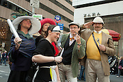 """Five poeple dressed as characters from the board game """"Clue."""""""