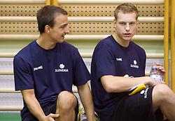 Daniel Vujasinovic and Jaka Blazic during practice session of Slovenian National Basketball team during training camp for Eurobasket Lithuania 2011, on July 12, 2011, in Arena Vitranc, Kranjska Gora, Slovenia. (Photo by Vid Ponikvar / Sportida)