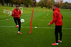 CARDIFF, WALES - Saturday, October 13, 2018: Wales' captain Ashley Williams (L) and Ashley 'Jazz' Richards during a training session at the Vale Resort ahead of the UEFA Nations League Group Stage League B Group 4 match between Republic of Ireland and Wales. (Pic by David Rawcliffe/Propaganda)