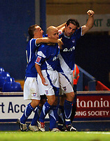 Photo: Ashley Pickering.<br />Ipswich Town v Preston North End. Coca Cola Championship. 17/10/2006.<br />Alan Lee celebrates his goal with Matt Richards and Mark Noble