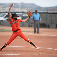 SJ Haines (5) pitches for the Gallup Bengals during their varsity softball game against the Bernalillo Spartans Tuesday in Gallup.