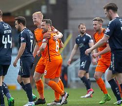 Dundee United's Thomas Nilkelsen cele scoring their goal. half time : Dundee United 1 v 0 Falkirk, Scottish Championship played 14/4/2018 at Dundee United's stadium Tannadice Park.
