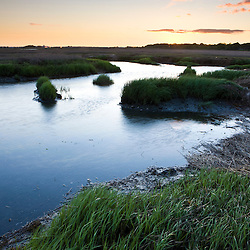 The salt marsh side of Long Beach in Stratford, Connecticut.  Dawn. This body of water is known as Lewis Gut and is adjacent to the Great Meadows Unit of McKinney National Wildlife Refuge.