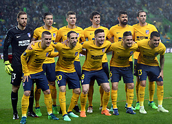 LISBON, April 13, 2018  Players of Atletico pose for a group photo before the Europa League quarterfinal second leg soccer match between Sporting CP and Club Atletico de Madrid at the Jose Alvalade stadium in Lisbon, Portugal, on April 12, 2018. Sporting won 1-0 but was eliminated by a 1-2 on aggregate. (Credit Image: © Zhang Liyun/Xinhua via ZUMA Wire)