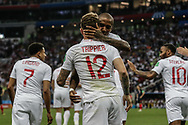 Kieran Trippier of England celebrates after his goal with Ashley Young during the 2018 FIFA World Cup Russia, semi-final football match between Croatia and England on July 11, 2018 at Luzhniki Stadium in Moscow, Russia - Photo Thiago Bernardes / FramePhoto / ProSportsImages / DPPI