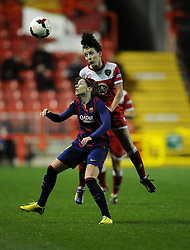 Bristol Academy Womens' Angharad James battles for the high ball  - Photo mandatory by-line: Joe Meredith/JMP - Mobile: 07966 386802 - 13/11/2014 - SPORT - Football - Bristol - Ashton Gate - Bristol Academy Womens FC v FC Barcelona - Women's Champions League