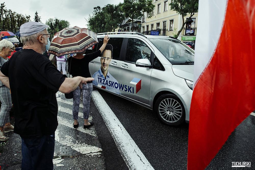 Ciechocinek, Poland; 19.06.2020 <br /> Rafal Trzaskowski (C), the current Mayor of Warsaw and Civic Platform's candidate for Presidency of Poland, seen during his visits to Ciechocinek spa town.<br /> Photo by Adam Tuchlinski for Die Zeit