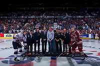 REGINA, SK - MAY 27: Ceremonial face off at the Brandt Centre on May 27, 2018 in Regina, Canada. (Photo by Marissa Baecker/CHL Images)