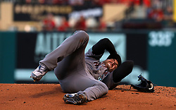 July 28, 2017 - St. Louis, MO, USA - Arizona Diamondbacks pitcher Robbie Ray writhes in pain on Friday, July, 26, 2017, after getting hit in the head by a ball hit by the St. Louis Cardinals' Luke Voit in the second inning at Busch Stadium in St. Louis. The Cards won, 1-0. (Credit Image: © Christian Gooden/TNS via ZUMA Wire)