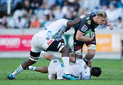 DURBAN, SOUTH AFRICA - MAY 19:Jean-Luc Du Preez of the Cell C Sharks on attack during the Super Rugby match between Cell C Sharks and Chiefs at Jonsson Kings Park on May 19, 2018 in Durban, South Africa. Picture Leon Lestrade/African News Agency/ANA