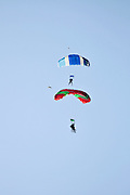 Israel, Habonim Skydive centre Tandem jumpers in the sky