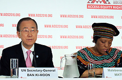 July 18, 2016 - Durban, South Africa - UNSecretary General Ban Ki Moon takes part in a press conference at the World AIDS Conference in Durban, South Africa, 18 July 2016. At the World AIDS Conference, researchers, activists, and government representatives are looking for ways to defeat the deadly immuno-deficiency virus for good by 2030. To the right is Malebona Matsoso, director general of the South African Ministry of Health. Photo:JUERGANBAETZ/dpa (Credit Image: © JüRgen BäTz/DPA via ZUMA Press)