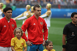 June 14, 2018 - Moscow, Russia - Russian Federation. Moscow. The Luzhniki Stadium. Match Opening of the World Cup 2018. Russia - Saudi Arabia. Solemn opening ceremony of the FIFA World Cup 2018. FIFA World Cup 2018. Player of the Russian national football team (in red) Igor Akinfeev; (Credit Image: © face to face via ZUMA Press)