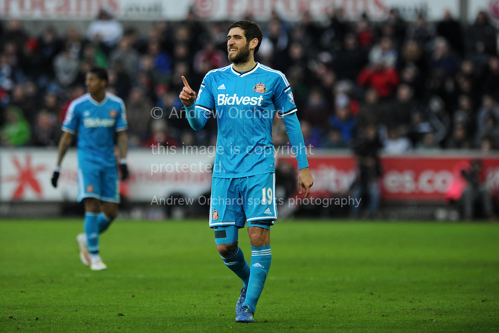 Danny Graham of Sunderland makes a point. Barclays premier league match, Swansea city v Sunderland at the Liberty stadium in Swansea, South Wales on Saturday 7th Feb 2015.<br /> pic by Andrew Orchard, Andrew Orchard sports photography.