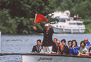 Henley on Thames,  United Kingdom, 1988 Henley Royal Regatta, Henley Reach, Thames Valley, Regatta Steward,  William [Bill] WINDHAM, releases the Red flag to start the race, <br /> [Mandatory Credit, Peter SPURRIER/Intersport Images, Henley Umpires Launch, Bosporos, <br /> <br /> Scans from Positives, April 2019