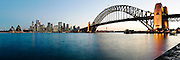 Panorama View of Sydney Harbour Bridge, CBD and Opera House. Photographed from Kirribilli.