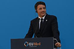 September 9, 2016 - Athens, attika, greece - Italian Prime Minister Matteo Renzi smiles during the EU MED Mediterranean Economies Summit in Athens on September 9, 2016. (Credit Image: © Wassilios Aswestopoulos/NurPhoto via ZUMA Press)