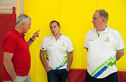 Iztok Rems, Matej Avanzo and Bozidar Maljkovic, head coach during training camp of Slovenian National basketball team for Eurobasket 2013 on July 19, 2013 in Sports hall Rogatec, Slovenia. (Photo by Vid Ponikvar / Sportida.com)