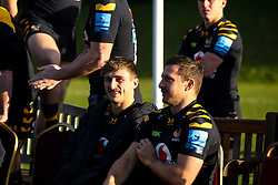 Josh Bassett and Jimmy Gopperth of Wasps - Mandatory by-line: Robbie Stephenson/JMP - 18/11/2019 - RUGBY - Broadstreet Rugby Football Club - Coventry , Warwickshire - Wasps Squad Photo