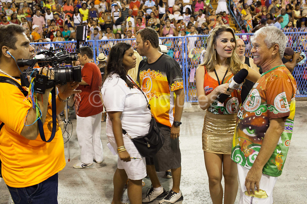 Grande Rio Samba School from the Special Group, practices their Carnival procession in the Sambadrome, Rio de Janeiro, Brazil