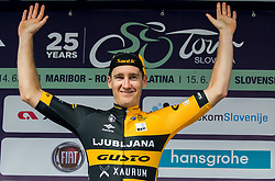 Benjamin Hill of Ljubljana Gusto Xaurum celebrates as best in mountain classification during trophy ceremony after the 1st Stage of 25th Tour de Slovenie 2018 cycling race between Lendava and Murska Sobota (159 km), on June 13, 2018 in  Slovenia. Photo by Vid Ponikvar / Sportida