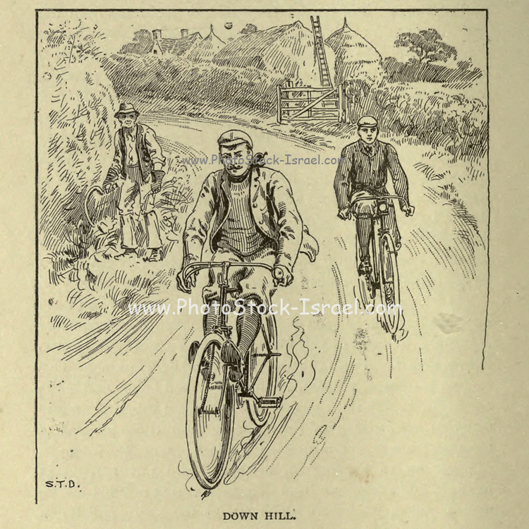 Downhill from 'Cycling' by The right Hon. Earl of Albemarle, William Coutts Keppel, (1832-1894) and George Lacy Hillier (1856-1941); Joseph Pennell (1857-1926) Published by London and Bombay : Longmans, Green and co. in 1896. The Badminton Library