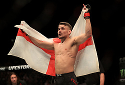 Nathaniel Wood celebrates beating Jose Quinonez during their Bantamweight bout during UFC Fight Night 147 at The O2 Arena, London.