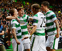 19/08/15 UEFA CHAMPIONS LEAGUE PLAY-OFF 1ST LEG<br /> CELTIC V MALMO<br /> CELTIC PARK - GLASGOW<br /> Leigh Griffiths (left) celebrates his goal with fellow Celtic team-mates.