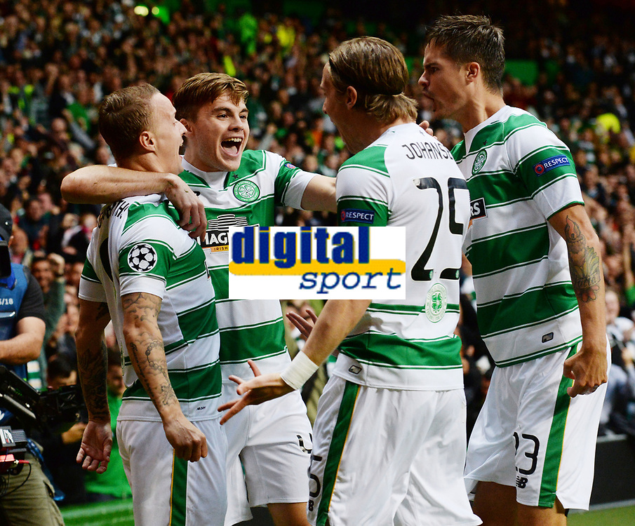 19/08/15 UEFA CHAMPIONS LEAGUE PLAY-OFF 1ST LEG<br /> CELTIC V MALMO<br /> CELTIC PARK - GLASGOW<br /> Leigh Griffiths (left) celebrates his goal with fellow Celtic team-mates.