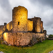 An early-evening panorama of Harlech Castle in Harlech, Gwynedd, on the northwest coast of Wales next to the Irish Sea. The castle was built by Edward I in the closing decades of the 13th century as one of several castles designed to consolidate his conquest of Wales.