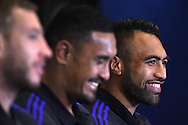 Victor Vito of New Zealand (r)  talks to the media.Rugby World Cup 2015 , New Zealand Allblacks player media session at the Hilton Hotel in Cardiff , South Wales on Monday 28th September 2015. The Allblacks are in Cardiff preparing for their next pool match against Georgia on Friday night.<br /> pic by  Andrew Orchard, Andrew Orchard sports photography.
