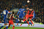 Cardiff's Kenwyne Jones goes close to scoring but heads over the bar.  Skybet football league championship, Cardiff city v AFC Bournemouth at the Cardiff city stadium in Cardiff, South Wales on Tuesday 17th March 2015.<br /> pic by Andrew Orchard, Andrew Orchard sports photography.