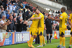 Matt Taylor of Bristol Rovers celebrates the third goal with James Clarke and Jermaine Easter - Mandatory byline: Neil Brookman/JMP - 07966 386802 - 03/10/2015 - FOOTBALL - Globe Arena - Morecambe, England - Morecambe FC v Bristol Rovers - Sky Bet League Two