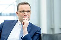 05 MAY 2021, BERLIN/GERMANY:<br /> Jens Spahn, CDU, Bundesgesundheitsminister, wahrend einem Interview, in seinem Buero, Bundesministerium fur Gesundheit<br /> IMAGE: 202105005-01-037