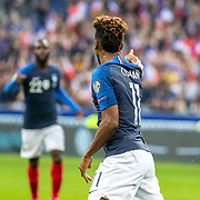 PARIS, FRANCE - September 10: Goalscorer Kingsley Coman #11 of France points to Jonathan Ikone #22 of France who provided the assist for the first goal during the France V Andorra, UEFA European Championship 2020 Qualifying match at Stade de France on September 10th 2019 in Paris, France (Photo by Tim Clayton/Corbis via Getty Images)