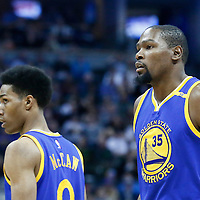 13 February 2017: Golden State Warriors forward Kevin Durant (35) is seen next to Golden State Warriors guard Patrick McCaw (0) during the Denver Nuggets 132-110 victory over the Golden State Warriors, at the Pepsi Center, Denver, Colorado, USA.