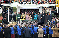 The Princess Royal (centre) presents the trophy to Jockey Paul Townend (second left), Trainer Willie Mullins (centre right) and winning connections after their victory in the Magners Cheltenham Gold Cup Chase on Al Boum Photo during Gold Cup Day of the 2019 Cheltenham Festival at Cheltenham Racecourse.