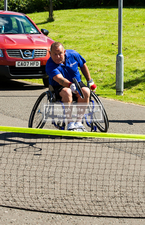 Pictured: <br /> <br /> First-ever care home games tournament took place over two days at Edinburgh's Inchview Care home. More than 90 athletes from other care homes gathered to  compete in events including javelin, curling and dancing. <br /> <br /> <br /> <br /> Ger Harley   EEm 27 July 2016