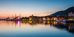 Waterfront and UNESCO heritage listed Bryggen, Bergen, Norway. 18/05/14. Photo by Andrew Tallon